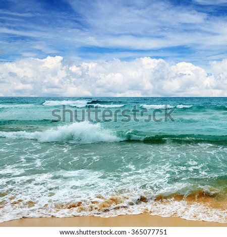 beautiful waves in the sea - stock photo