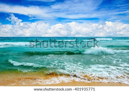beautiful waves in the sea - stock photo