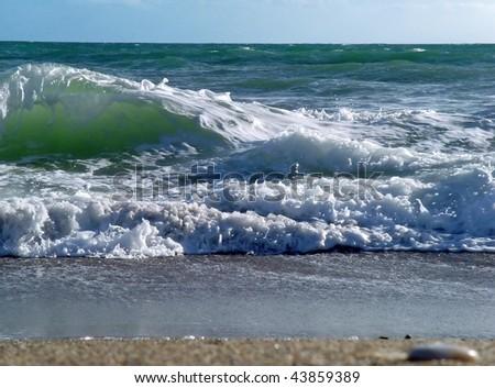 Beautiful waves on the sea, Spain - stock photo