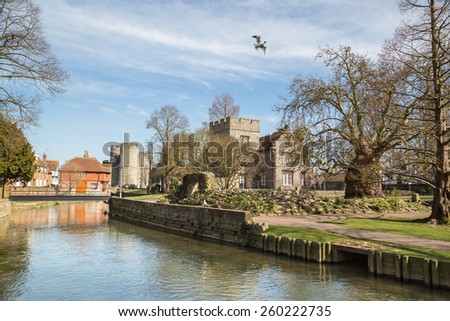 Beautiful weather and views of Canterbury along the Westgate Gardens Riverwalk. - stock photo