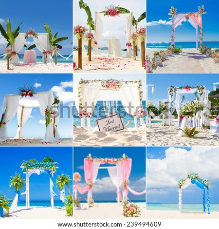 beautiful wedding arch, cabana, beach wedding, tropical wedding set up collection set - stock photo