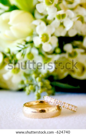 beautiful wedding bands with details - stock photo
