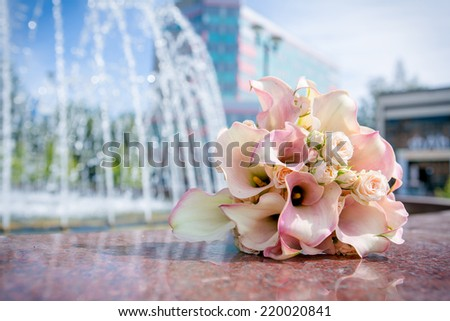 Beautiful wedding bouquet and fontain on the background - stock photo
