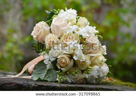 Beautiful wedding bouquet close-up - stock photo