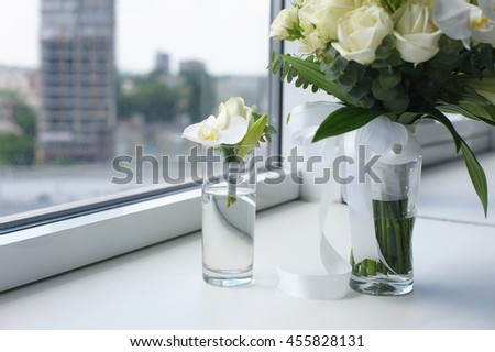 Beautiful Wedding Bouquet Glass Vase Flowers Stock Photo Edit Now