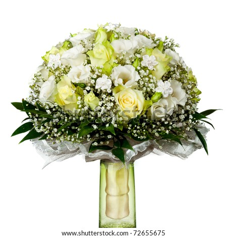 beautiful wedding bouquet isolated on white background - stock photo