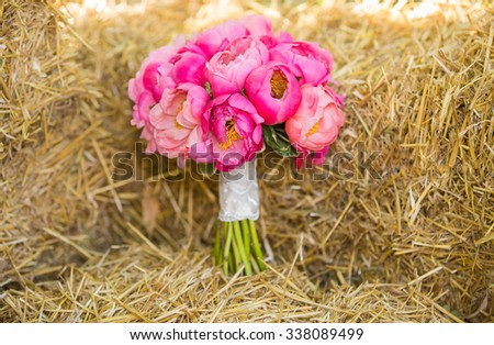 beautiful wedding bouquet of pink peonies - stock photo