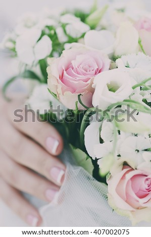 Beautiful wedding bouquet with roses, selective focus