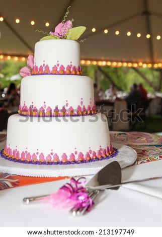 Beautiful wedding cake. An american wedding tradition. - stock photo