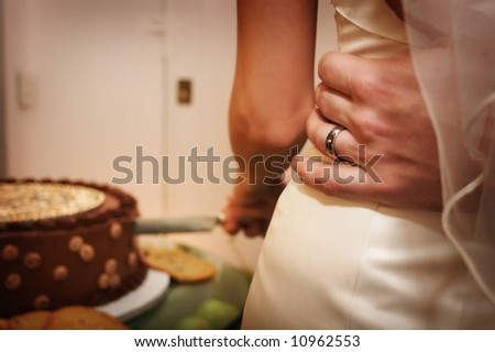 Beautiful wedding cake at a wedding reception - stock photo