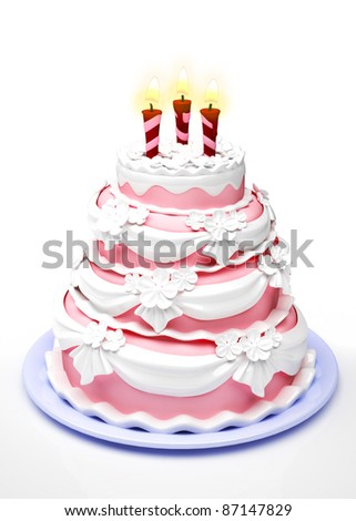 Beautiful wedding cake. 3d illustration - stock photo