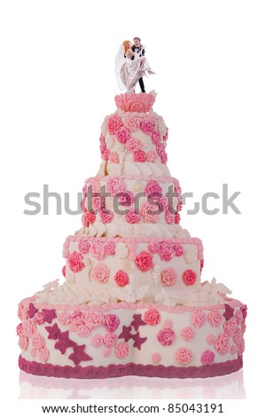 beautiful wedding cake, with pink roses. isolated on white background - stock photo