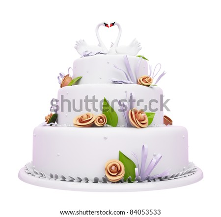 Beautiful Wedding cake with roses and swans isolated over white - stock photo