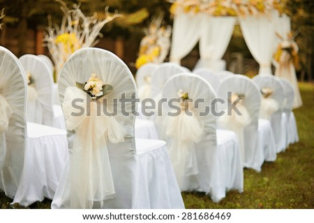 Beautiful wedding ceremony in forest. Indian summer color effect.