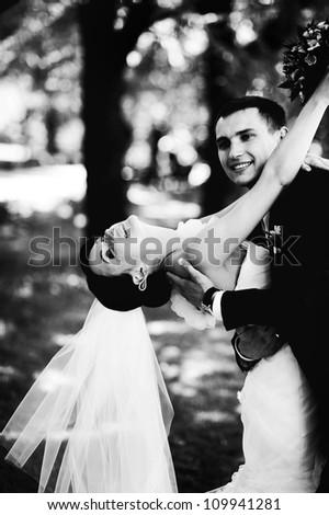 beautiful wedding couple - stock photo