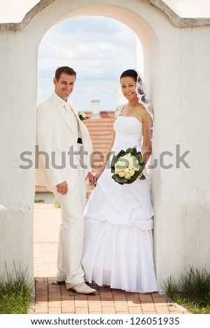 beautiful wedding couple - stock photo