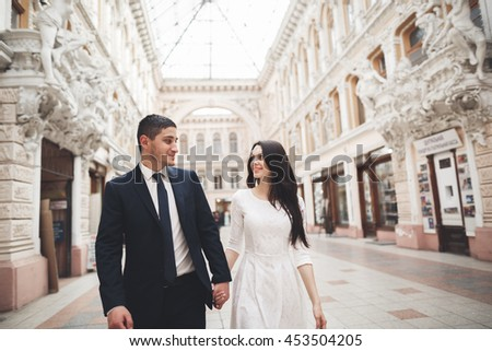 Beautiful wedding couple, bride, groom kissing and hugging against the background of old building