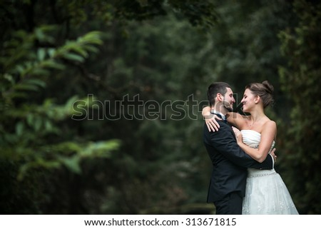 Beautiful wedding couple in each other's arms in the park - stock photo