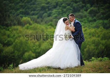 beautiful wedding couple kissing at the mountain - stock photo