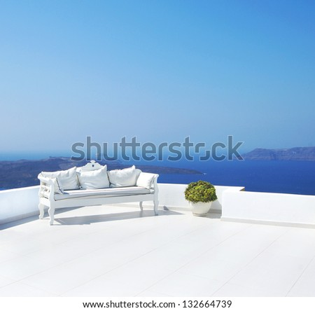 Beautiful wedding decoration on Santorini island - stock photo