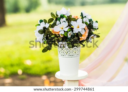 Beautiful wedding decorations in a forest glade - stock photo