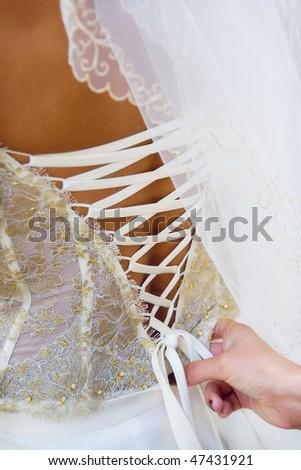 Beautiful wedding dress - stock photo