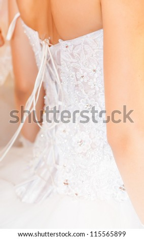 Beautiful wedding dress. Close-up