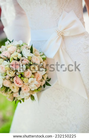 beautiful wedding dress close up - stock photo