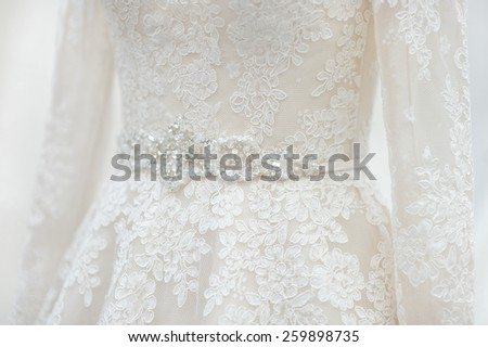 Beautiful wedding dress decoration close up - stock photo