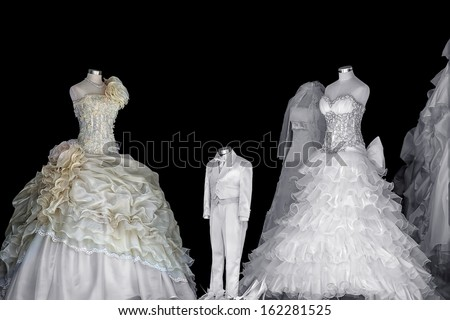 Beautiful wedding dress on a black background