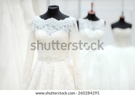 Beautiful wedding dresses on a mannequin  - stock photo