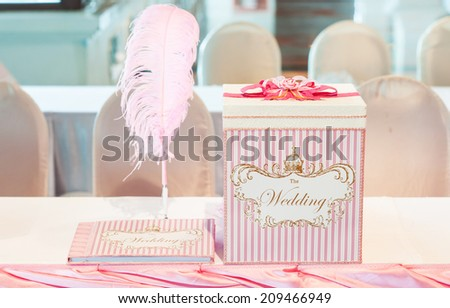 beautiful wedding favors wrapped in cute boxes - stock photo