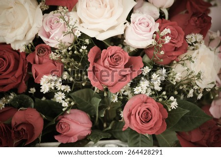 Beautiful wedding flower decoration - stock photo