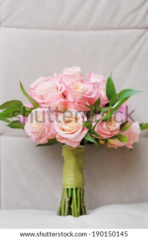 Beautiful wedding flowers bouquet (made of roses)  - stock photo