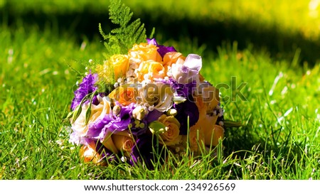 beautiful  wedding  flowers  bouquet  yellow and purple rose