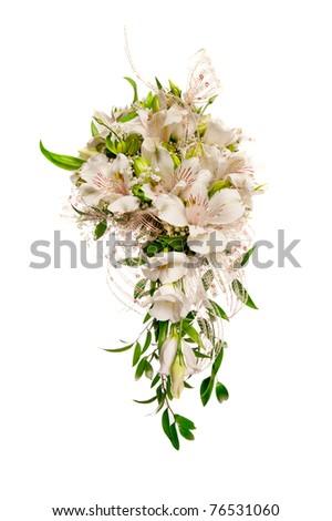 beautiful wedding flowers isolated on white - stock photo