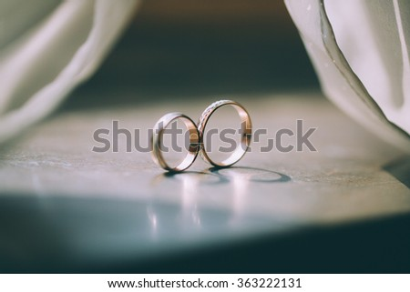 Beautiful wedding rings - stock photo