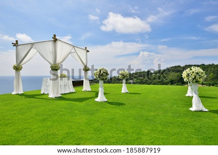 Beautiful wedding set up in Phuket Thailand - stock photo