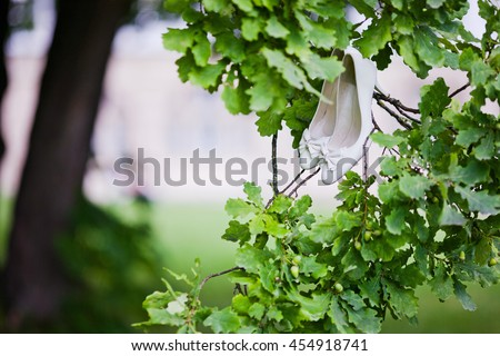 beautiful wedding shoes hanging on a branch - stock photo