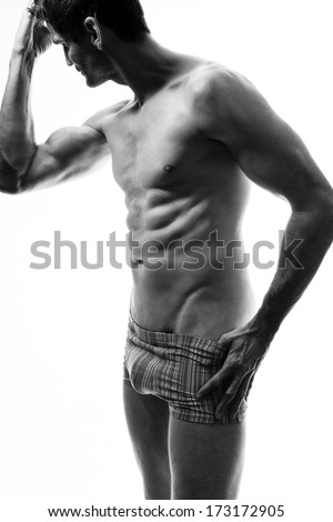 beautiful well trained man with perfect body - stock photo