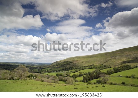 beautiful welsh countryside in the brecon beacons on a summer's day - stock photo