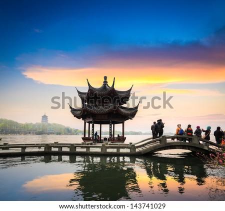 beautiful west lake scenery at dusk in hangzhou,China - stock photo