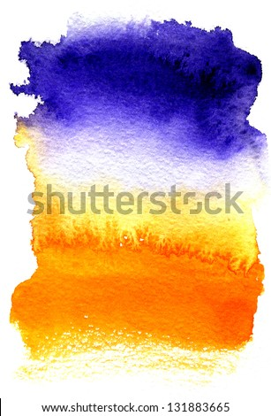 Beautiful wet watercolor background stretching from dark blue to orange - stock photo