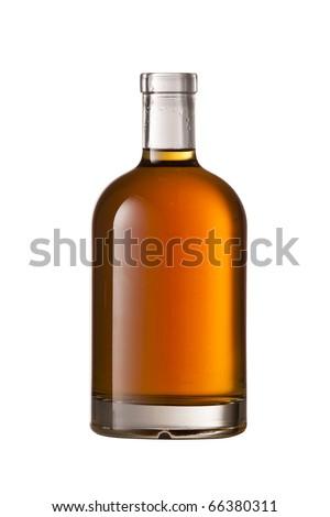 Beautiful Whisky bottle on white background - stock photo