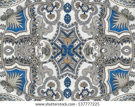 Beautiful white and blue arabesque, islamic pattern.