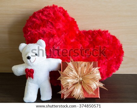 Beautiful white bear with red heart retro style
