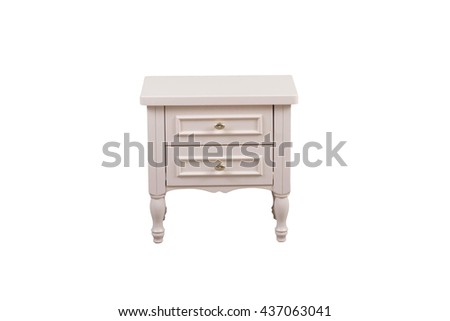 beautiful white bedside table on a white background