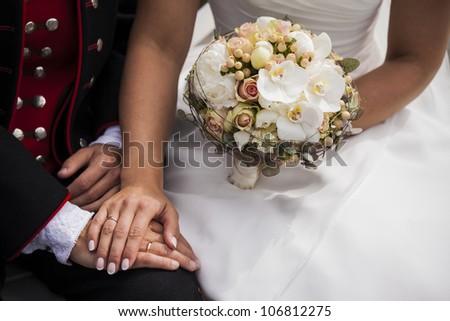 Beautiful white bridal bouquet - stock photo