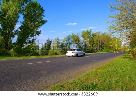 Beautiful white car on road across forest. Shot in Ukraine. - stock photo