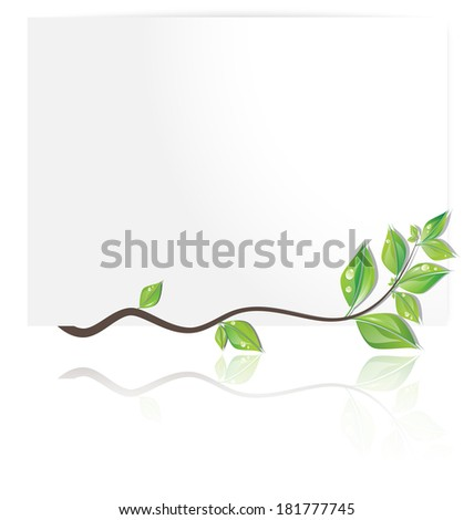 Beautiful white card decorated with branch of fresh leaves